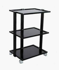 Black 3 Tier Glass Shelved Beauty Trolley