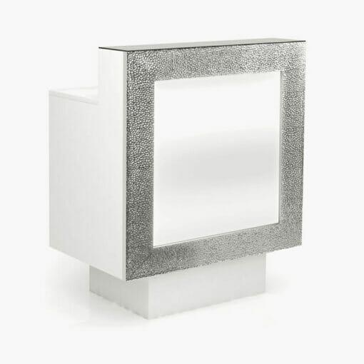 Nelson Mobilier Small Silver Reception Desk